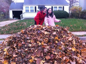 Alison and Katie and lots of leaves